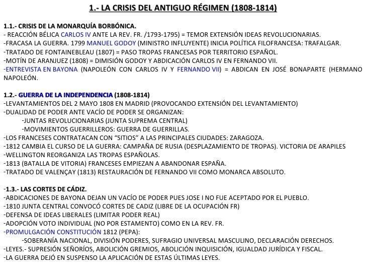 <ul><li>1.- LA CRISIS DEL ANTIGUO RÉGIMEN (1808-1814) </li></ul><ul><li>1.1.- CRISIS DE LA MONARQUÍA BORBÓNICA. </li></ul>...