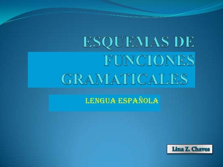 ESQUEMAS DE FUNCIONES          GRAMATICALES<br />LENGUA ESPAÑOLA<br />LinaZ. Chaves<br />