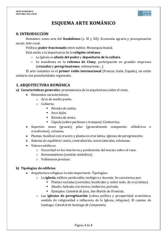 ARTE ROMÁNICOHISTORIA DEL ARTEPágina 1 de 3ESQUEMA ARTE ROMÁNICO0. INTRODUCCIÓNRománico como arte del feudalismo (s. XI y ...