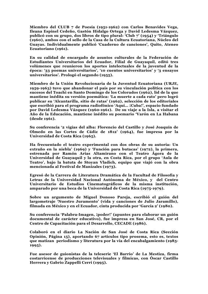 Miembro del CLUB 7 de Poesía (1951-1962) con Carlos Benavides Vega, Ileana Espinel Cedeño, Gastón Hidalgo Ortega y David L...