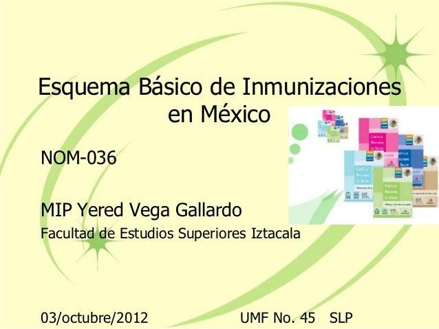 Esquema Básico de Inmunizaciones          en MéxicoNOM-036MIP Yered Vega GallardoFacultad de Estudios Superiores Iztacala0...