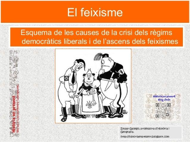 El feixisme Esquema de les causes de la crisi dels règims democràtics liberals i de l'ascens dels feixismes Empar Gallego,...