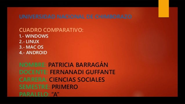 UNIVERSIDAD NACIONAL DE CHIMBORAZO CUADRO COMPARATIVO: 1.- WINDOWS 2.- LINUX 3.- MAC OS 4.- ANDROID NOMBRE: PATRICIA BARRA...