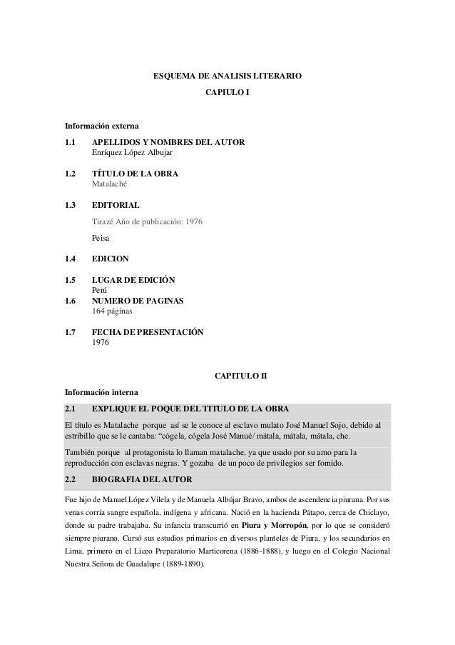 ESQUEMA DE ANALISIS LITERARIO  CAPIULO I  Información externa  1.1 APELLIDOS Y NOMBRES DEL AUTOR  Enríquez López Albujar  ...