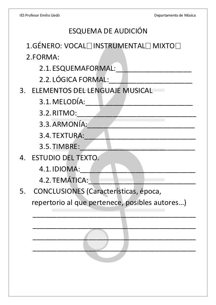 IES Profesor Emilio Lledó                         Departamento de Música                            ESQUEMA DE AUDICIÓN  1...