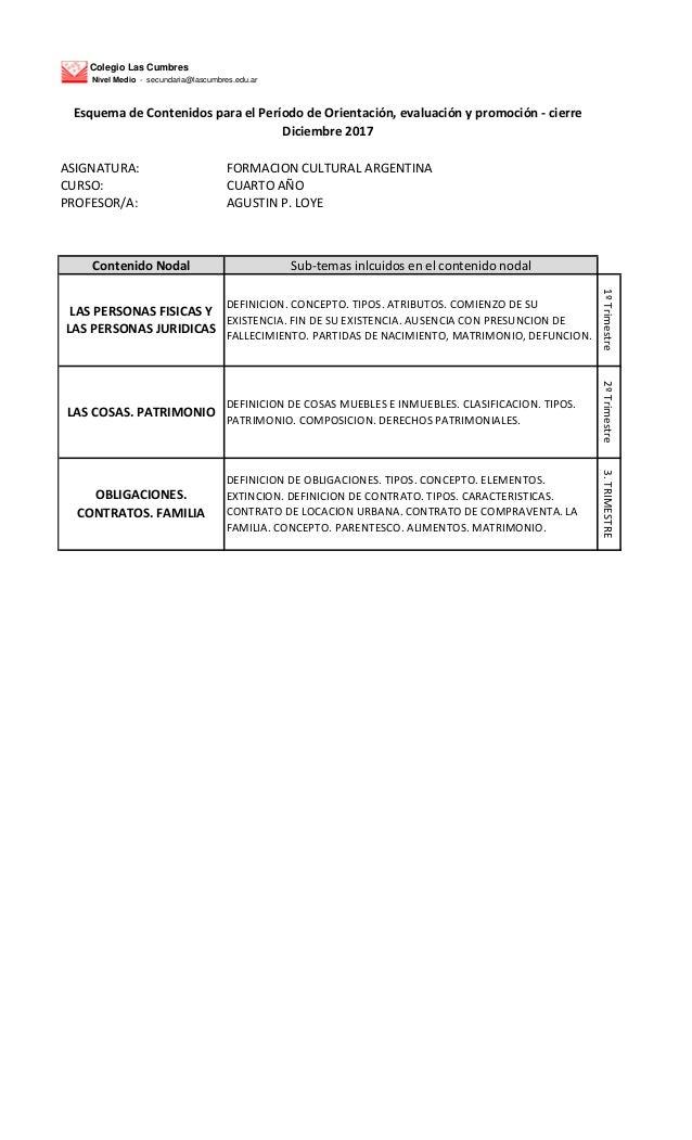 Colegio Las Cumbres Nivel Medio - secundaria@lascumbres.edu.ar ASIGNATURA: FORMACION CULTURAL ARGENTINA CURSO: CUARTO A�O ...
