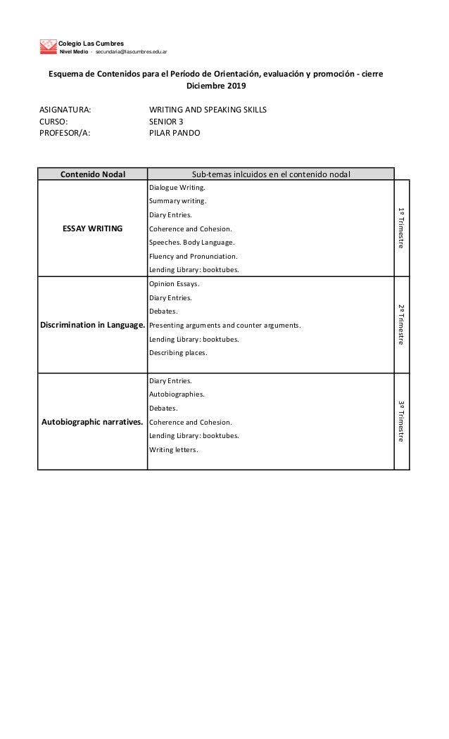 Colegio Las Cumbres Nivel Medio - secundaria@lascumbres.edu.ar ASIGNATURA: WRITING AND SPEAKING SKILLS CURSO: SENIOR 3 PRO...