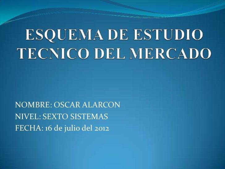 NOMBRE: OSCAR ALARCONNIVEL: SEXTO SISTEMASFECHA: 16 de julio del 2012