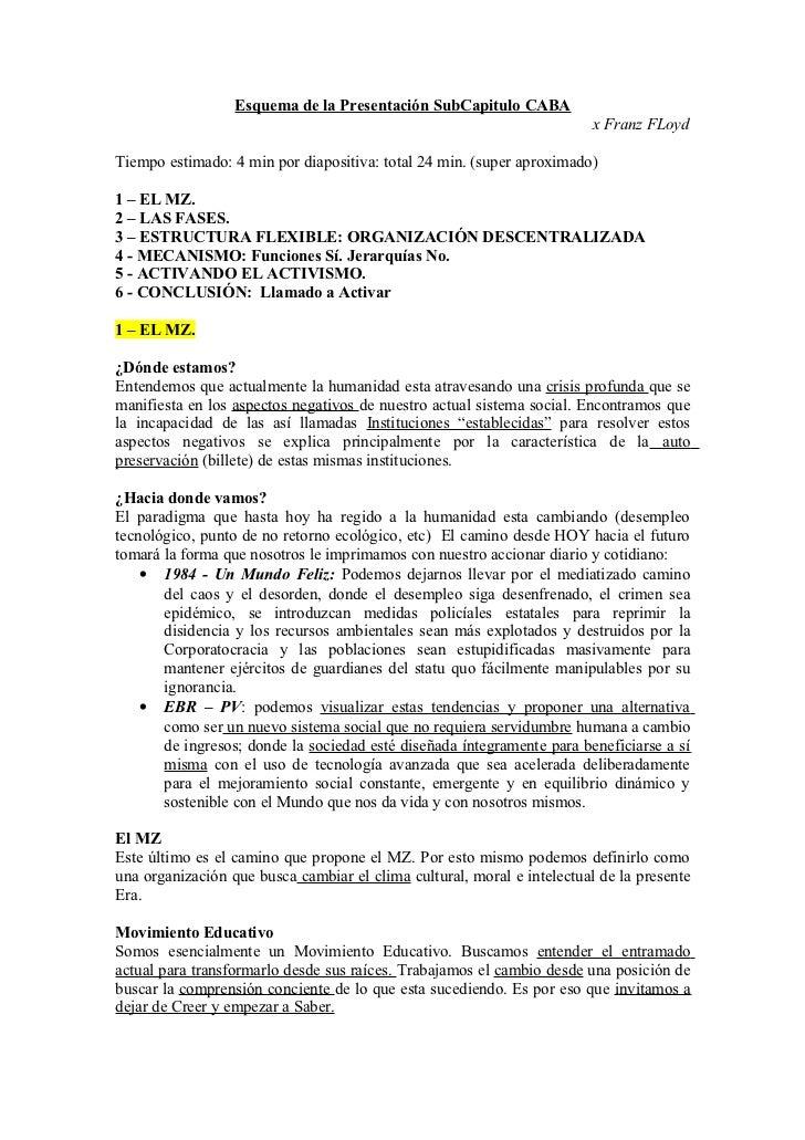 Esquema de la Presentación SubCapitulo CABA                                                                         x Fran...