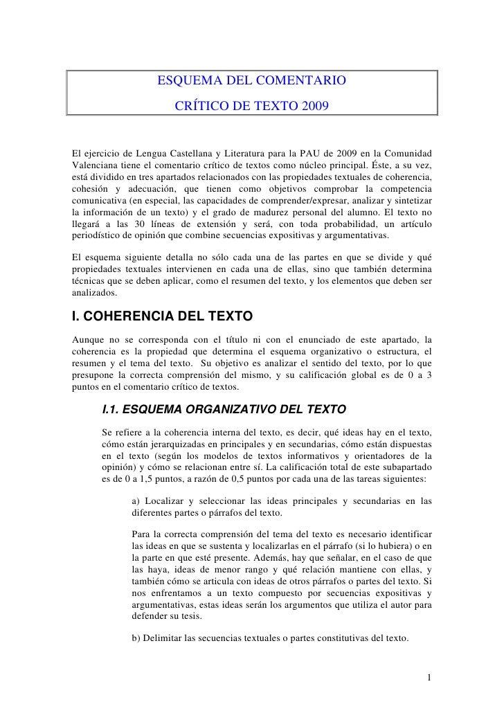 ESQUEMA DEL COMENTARIO                          CRÍTICO DE TEXTO 2009   El ejercicio de Lengua Castellana y Literatura par...