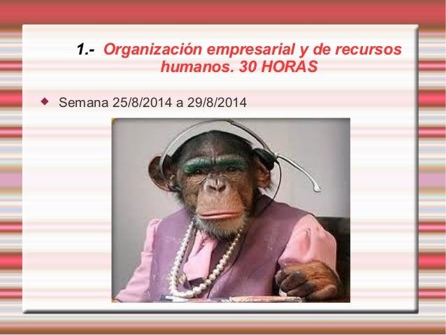 1.- Organización empresarial y de recursos  humanos. 30 HORAS   Semana 25/8/2014 a 29/8/2014