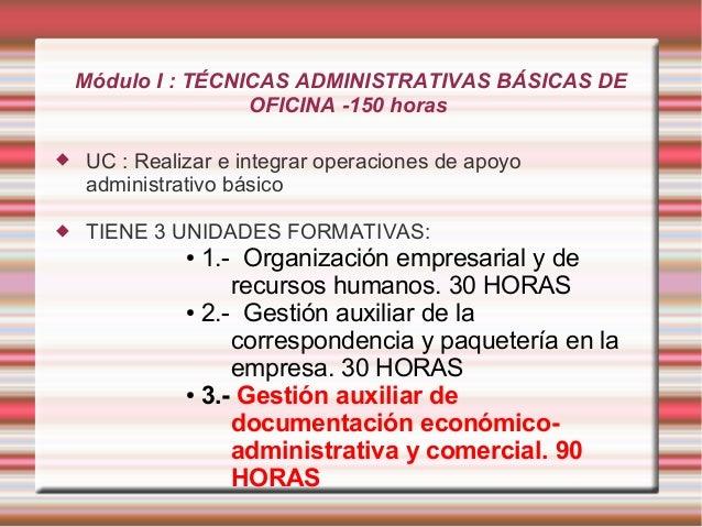 Módulo I : TÉCNICAS ADMINISTRATIVAS BÁSICAS DE  OFICINA -150 horas   UC : Realizar e integrar operaciones de apoyo  admin...
