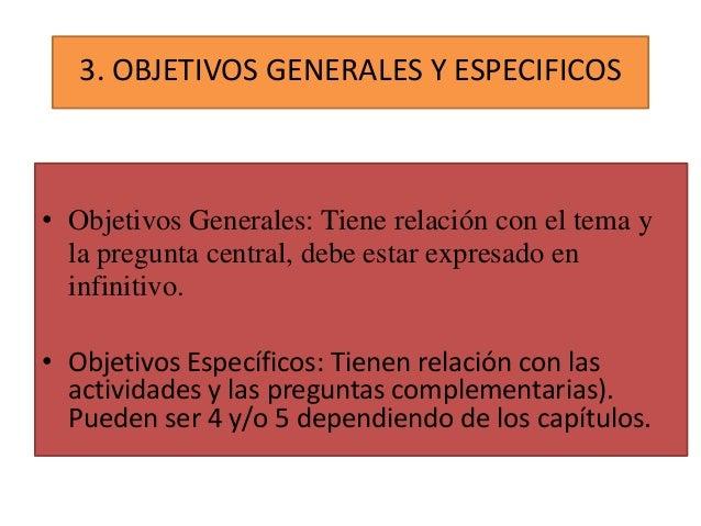 3. OBJETIVOS GENERALES Y ESPECIFICOS  • Objetivos Generales: Tiene relación con el tema y la pregunta central, debe estar ...
