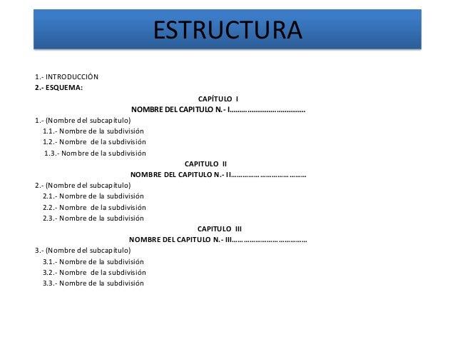 ESTRUCTURA 1.- INTRODUCCIÓN 2.- ESQUEMA: CAPÍTULO I NOMBRE DEL CAPITULO N.- I………………………………… 1.- (Nombre del subcapítulo) 1....