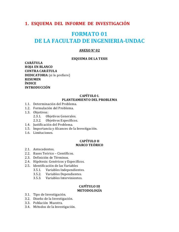 1. ESQUEMA DEL INFORME DE INVESTIGACIÓN                   FORMATO 01       DE LA FACULTAD DE INGENIERIA-UNDAC             ...
