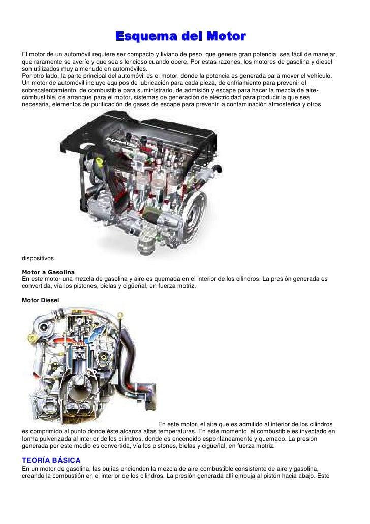Esquema del Motor<br />El motor de un automóvil requiere ser compacto y liviano de peso, que genere gran potencia, sea fác...