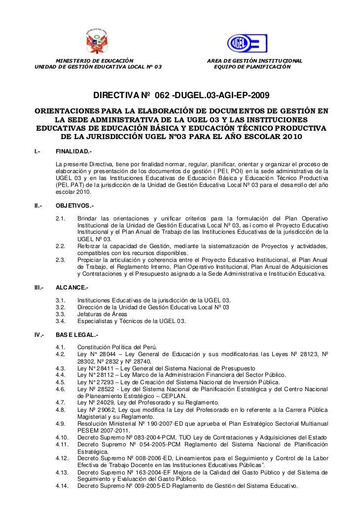 MINISTERIO DE EDUCACIÓN                                     AREA DE GESTIÓN INSTITUCIONALUNIDAD DE GESTIÓN EDUCATIVA LOCAL...