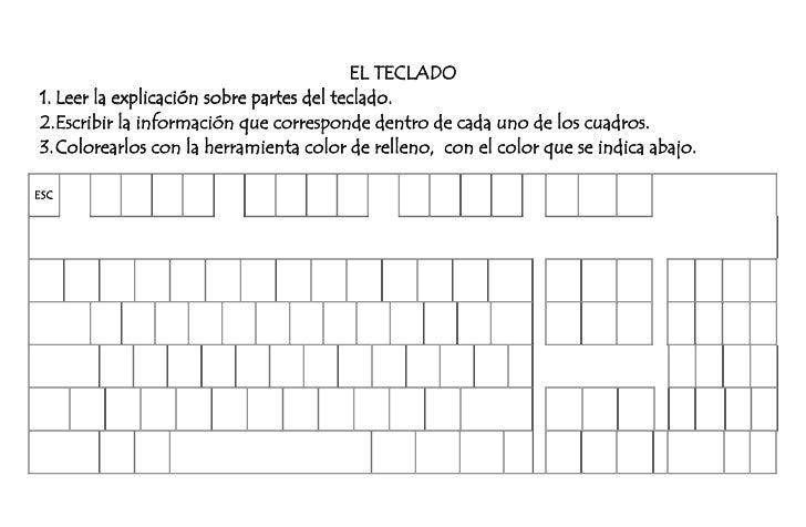 EL TECLADO<br />Leer la explicación sobre partes del teclado.<br />Escribir la información que corresponde dentro de cada ...