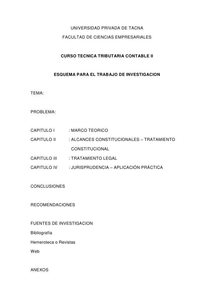 UNIVERSIDAD PRIVADA DE TACNA<br />FACULTAD DE CIENCIAS EMPRESARIALES<br />CURSO TECNICA TRIBUTARIA CONTABLE II<br />ESQUEM...