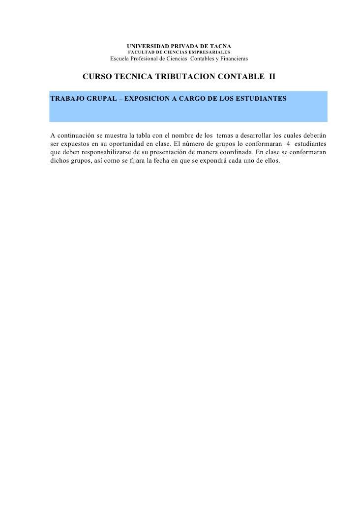 UNIVERSIDAD PRIVADA DE TACNA                            FACULTAD DE CIENCIAS EMPRESARIALES                     Escuela Pro...