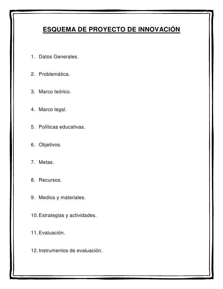 ESQUEMA DE PROYECTO DE INNOVACIÓN<br />Datos Generales.<br />Problemática.<br />Marco teórico.<br />Marco legal.<br />Polí...