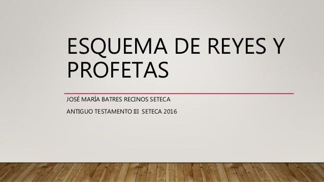 ESQUEMA DE REYES Y PROFETAS JOSÉ MARÍA BATRES RECINOS SETECA ANTIGUO TESTAMENTO III SETECA 2016