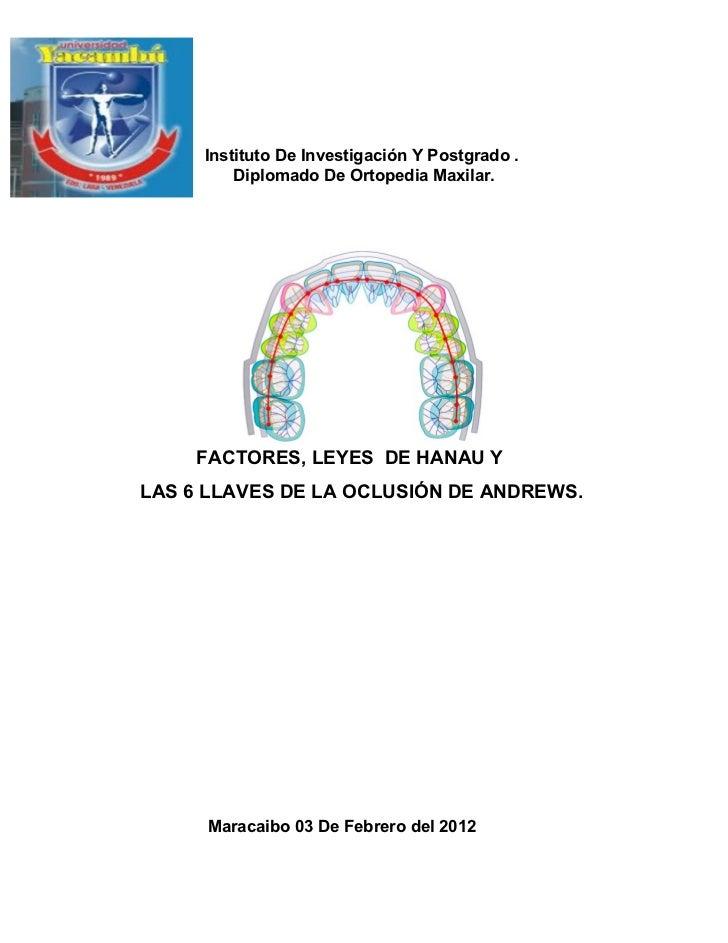 Instituto De Investigación Y Postgrado .         Diplomado De Ortopedia Maxilar.    FACTORES, LEYES DE HANAU YLAS 6 LLAVES...