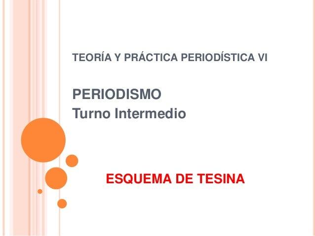 ESQUEMA DE TESINA TEORÍA Y PRÁCTICA PERIODÍSTICA VI PERIODISMO Turno Intermedio