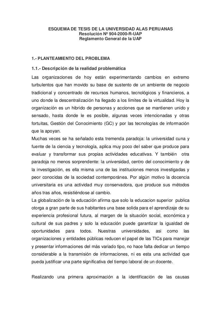 ESQUEMA DE TESIS DE LA UNIVERSIDAD ALAS PERUANAS<br />Resolución Nº 904-2000-R-UAP<br />Reglamento General de la UAP<br />...