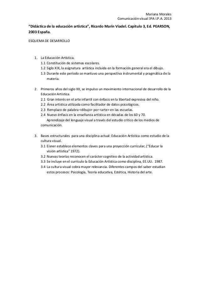"""Mariana Morales Comunicación visual 3ºA I.P.A. 2013 """"Didáctica de la educación artística"""", Ricardo Marín Viadel. Capítulo ..."""