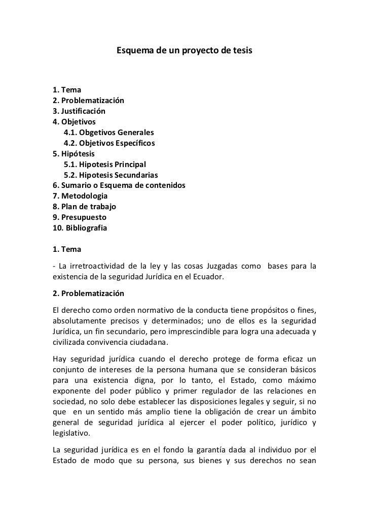 Esquema de un proyecto de tesis1. Tema2. Problematización3. Justificación4. Objetivos    4.1. Obgetivos Generales    4.2. ...
