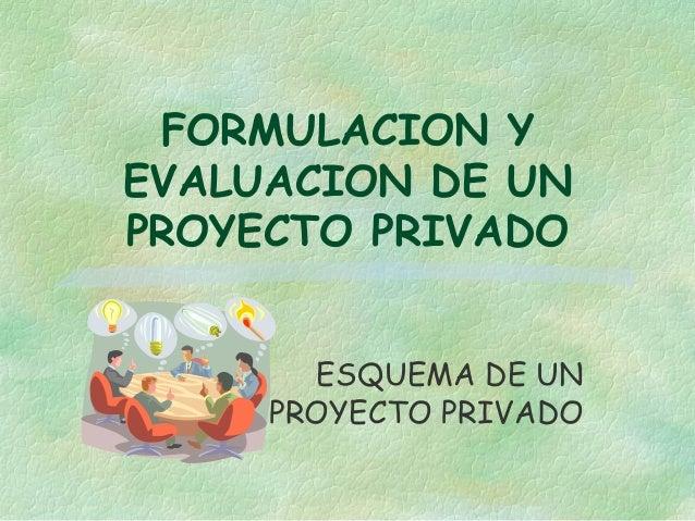 FORMULACION Y EVALUACION DE UN PROYECTO PRIVADO ESQUEMA DE UN PROYECTO PRIVADO