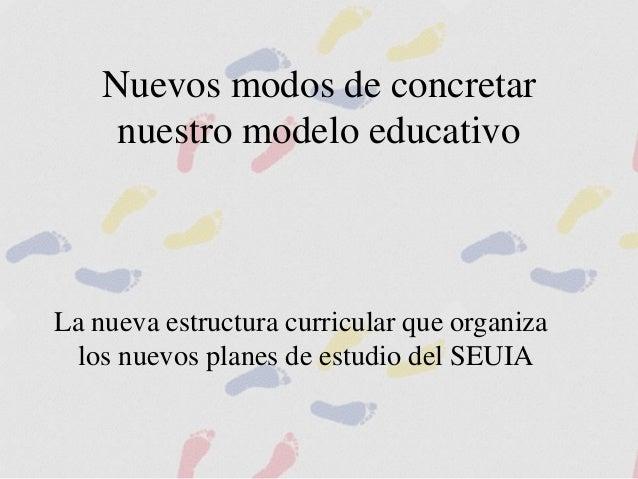 Nuevos modos de concretar nuestro modelo educativo La nueva estructura curricular que organiza los nuevos planes de estudi...