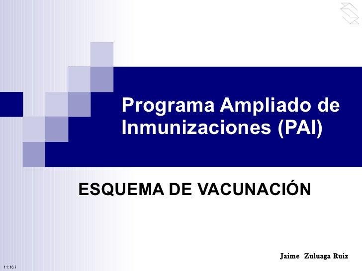 Programa Ampliado de Inmunizaciones (PAI) ESQUEMA DE VACUNACIÓN Jaime  Zuluaga Ruiz 10:50 PM
