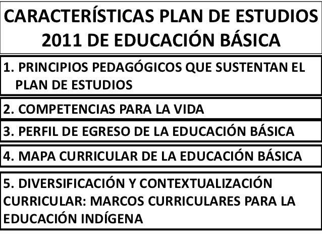 CARACTERÍSTICAS PLAN DE ESTUDIOS   2011 DE EDUCACIÓN BÁSICA1. PRINCIPIOS PEDAGÓGICOS QUE SUSTENTAN EL  PLAN DE ESTUDIOS2. ...