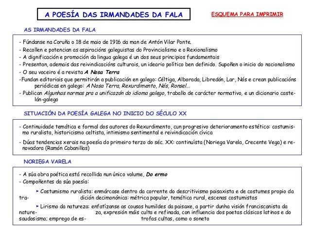 A POESÍA DAS IRMANDADES DA FALA ESQUEMA PARA IMPRIMIR AS IRMANDADES DA FALA - Continuidade temática e formal dos autores d...