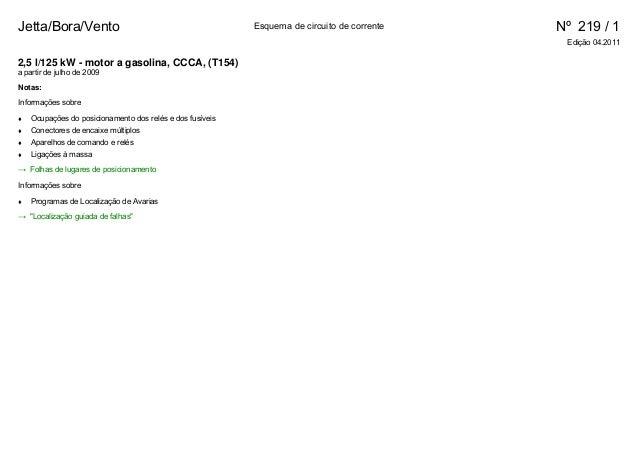 Jetta/Bora/Vento Esquema de circuito de corrente Nº 219 / 1 Edição 04.2011 2,5 l/125 kW - motor a gasolina, CCCA, (T154) ...