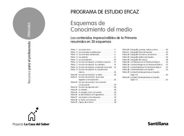 1 PROGRAMA DE ESTUDIO EFICAZ Esquemas de Conocimiento del medio Los contenidos imprescindibles de la Primaria resumidos en...