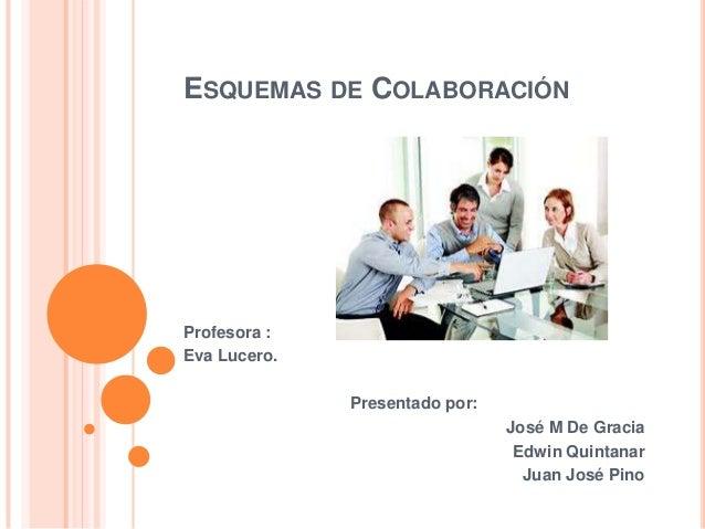 ESQUEMAS DE COLABORACIÓNProfesora :Eva Lucero.Presentado por:José M De GraciaEdwin QuintanarJuan José Pino