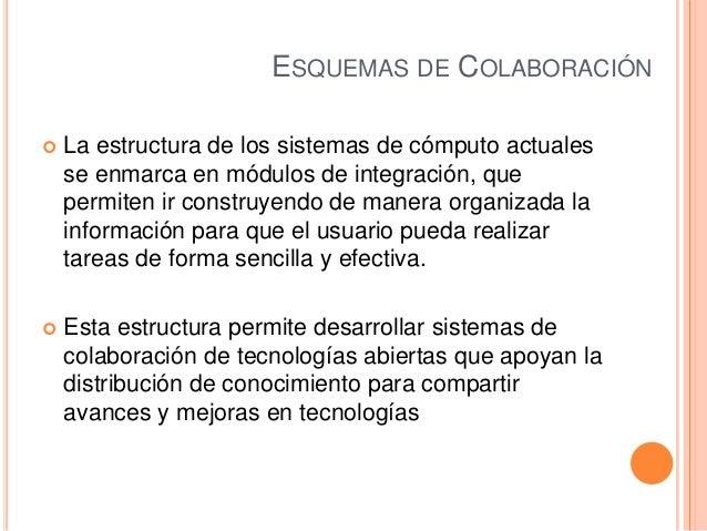 ESQUEMAS DE COLABORACIÓN La estructura de los sistemas de cómputo actualesse enmarca en módulos de integración, quepermit...