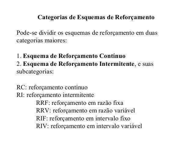 Categorias de Esquemas de Reforçamento Pode-se dividir os esquemas de reforçamento em duas categorias maiores: 1. Esquema ...