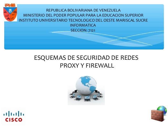 ESQUEMAS DE SEGURIDAD DE REDES PROXY Y FIREWALL REPUBLICA BOLIVARIANA DE VENEZUELA MINISTERIO DEL PODER POPULAR PARA LA ED...