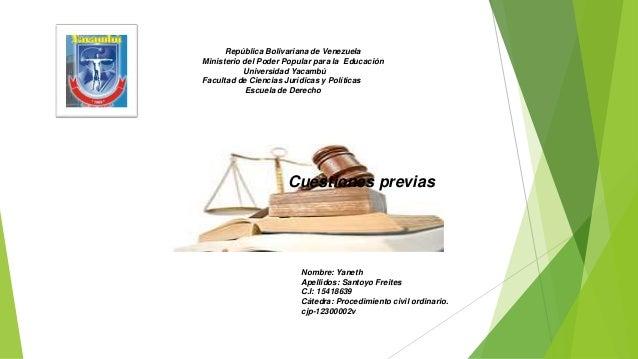 República Bolivariana de Venezuela Ministerio del Poder Popular para la Educación Universidad Yacambú Facultad de Ciencias...