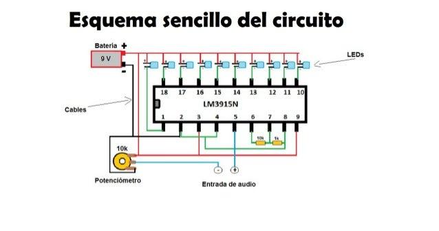 Circuito Sencillo : Esquema sencillo del circuito vumetro