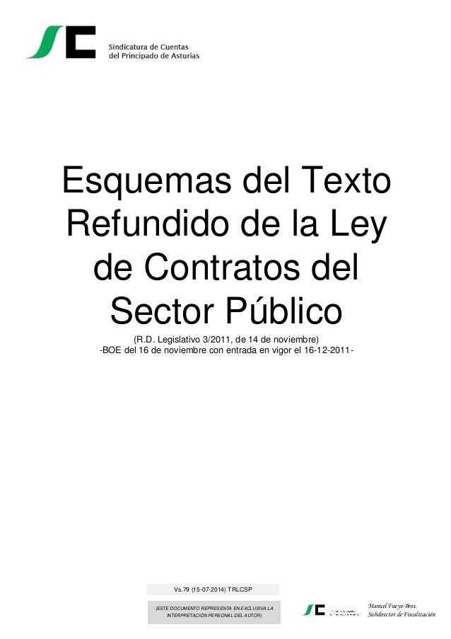 Esquemas del Texto Refundido de la Ley de Contratos del Sector Público (R.D. Legislativo 3/2011, de 14 de noviembre) -BOE ...