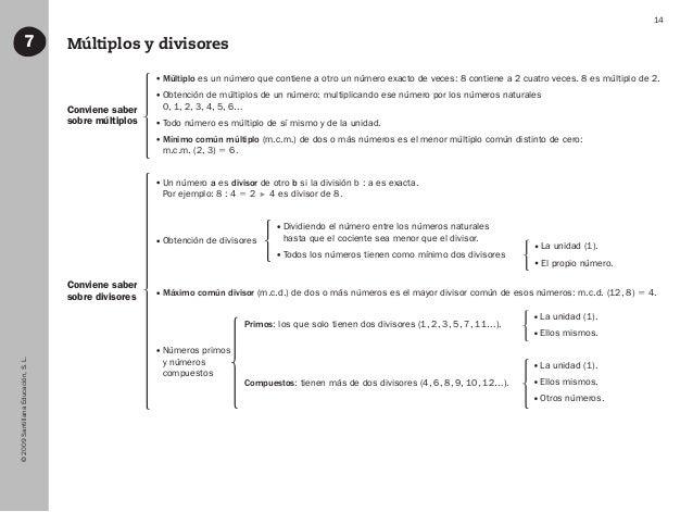 ©2009SantillanaEducación,S.L. 14 Múltiplos y divisores7 Conviene saber sobre múltiplos Conviene saber sobre divisores Múlt...
