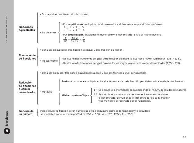 17 ©2009SantillanaEducación,S.L.Fracciones 8 Fracciones equivalentes Comparación de fracciones Reducción de fracciones a c...