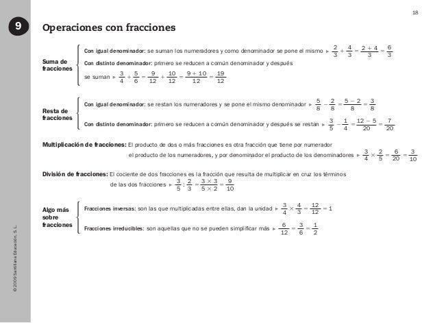 ©2009SantillanaEducación,S.L. 18 Operaciones con fracciones9 Suma de fracciones Resta de fracciones Algo más sobre fraccio...