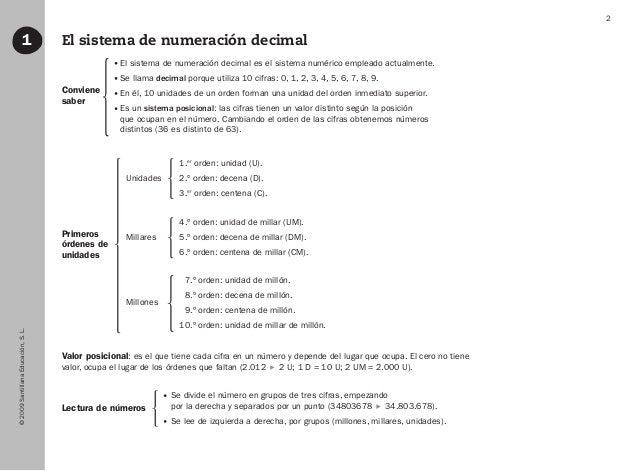 ©2009SantillanaEducación,S.L. 2 1 El sistema de numeración decimal Conviene saber Primeros órdenes de unidades Lectura de ...