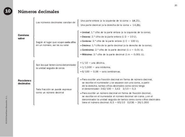 ©2009SantillanaEducación,S.L. 20 Números decimales10 Fracciones decimales Conviene saber Los números decimales constan de ...